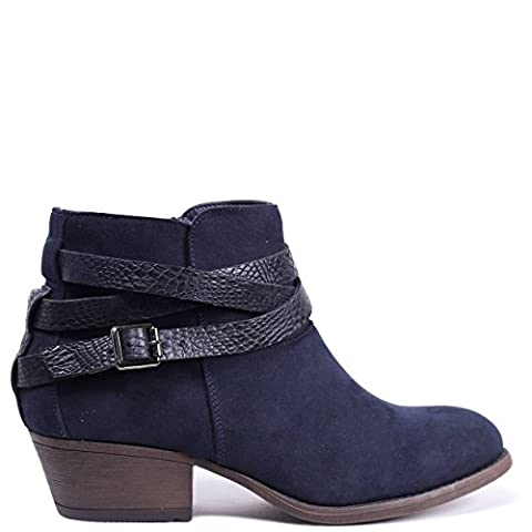 CORINA - Navy Suede Block Heeled Ankle Boot with Snake
