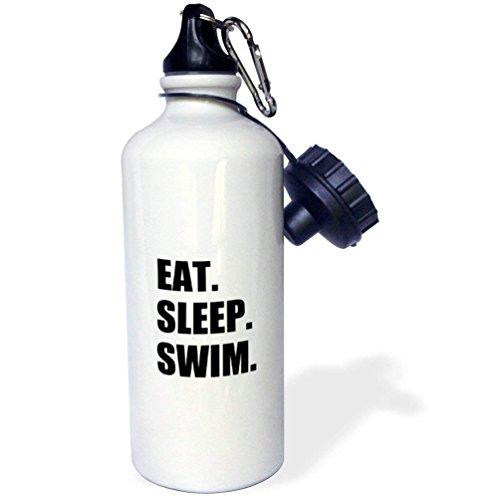 Qidushop eat sleep enthusiast nuotatore nuoto passion black text borraccia sportiva in acciaio inox isolante cup biking camping 595,3gram