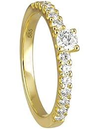 Diamond Line Damen - Ring 585er Gold 15 Diamanten ca. 0,50 ct.