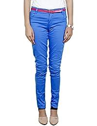IndiWeaves Girls Satin Cotton Plain Slim Fit Blue Trouser