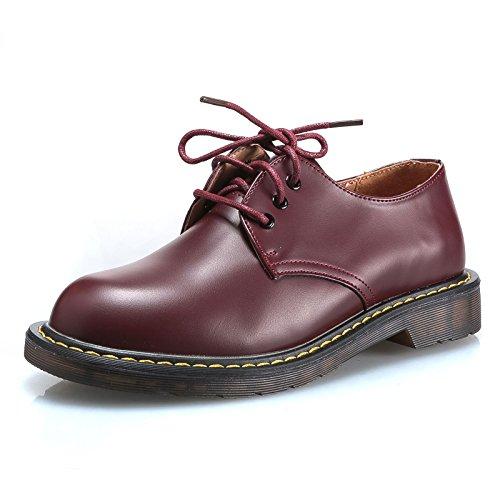 MForshop scarpe donna mocassino stringate anfibi bassi scarponcino ec pelle 9931 (39, Bordeaux)