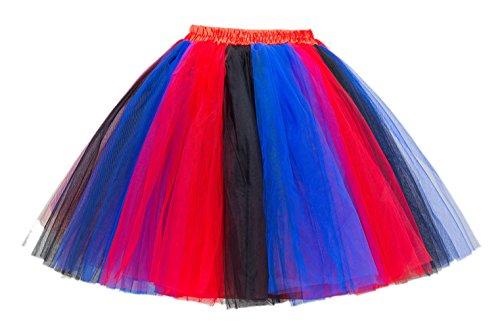 Honeystore Damen's Mini Tutu Ballett Mehrschichtige Rüschen Unterkleid Rot Schwarz - Hell Halloween Blau Tutu