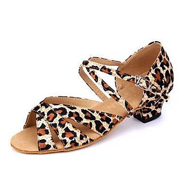 Silence @ Femme/enfants Chaussures de danse latine en satin Talon bas Léopard léopard