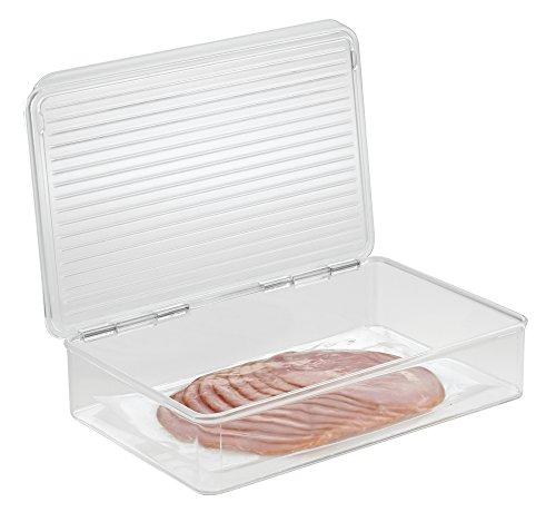 mDesign contenitore frigo per alimenti con coperchio - Organizer frigorifero per mantenere al fresco il cibo - Ideale come contenitore pappa neonato - trasparente - anche per il congelatore