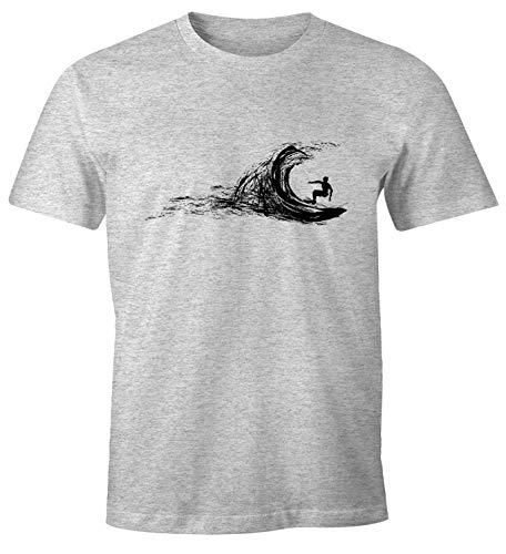 Neverless Herren T-Shirt Surfer Surfing surfen Surfboard Wave Welle Wellenreiten Urlaub Meer Ozean Surfer Boy Silhouette Slim Fit grau-meliert L
