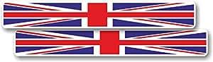 Vinyle autocollant/sticker Drapeau Union Jack taille moyenne toile-Lot de 2