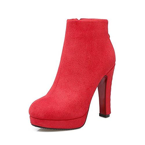 AgooLar Damen Mattglasbirne Knöchel Hohe Rein Reißverschluss Hoher Absatz Stiefel Rot