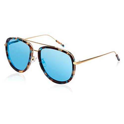 Komny Fashion Color Frame Sonnenbrille Frauen Trend Persönlichkeit Farbe Film Square Gesicht polarisierte's Box Frauen Sonnenbrille Farbe Frame [Objektiv]