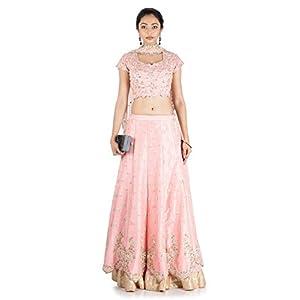 Anju Agarwal Women's Raw Silk Lahenga Choli (LGA360, pink,40)