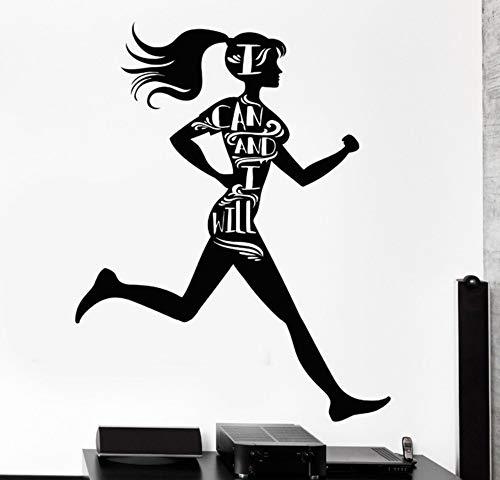 WALSITK Sport Mädchen Vinyl Schwarz Wandtattoos Für Gym Motivation Wörter Läufer Gesundheit Wandaufkleber Ausgangsdekor Sport Kinderzimmer Aufkleber 57x72 cm