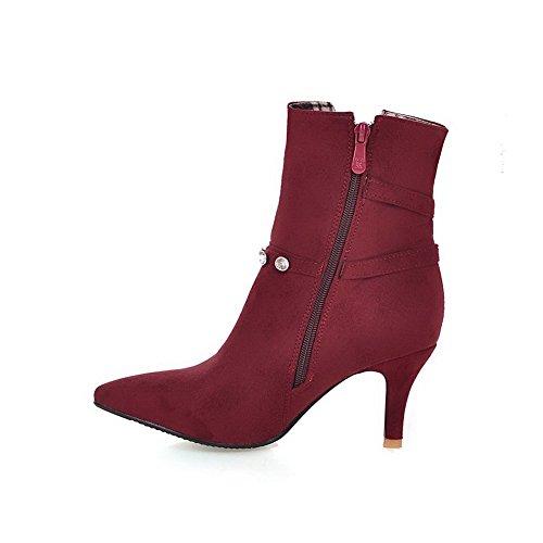 VogueZone009 Donna Tacco Alto Bassa Altezza Chiodato Cerniera Stivali con Talismano Chiaretto