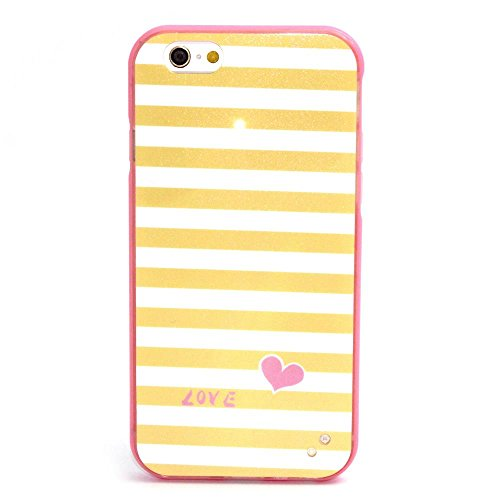 "MOONCASE iPhone 6S Plus Coque, Glitter Sparkle Bling Étui Coque pour iPhone 6 Plus / 6S Plus 5.5"" Soft Coloré Motif TPU Gel Souple Case Housse de Protection Panda Yellow Stripe"