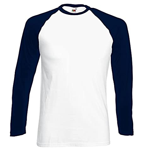 New Fruit of the Loom Mens Long Sleeve Cotton Baseball T Shirt White/ Deep Navy Large