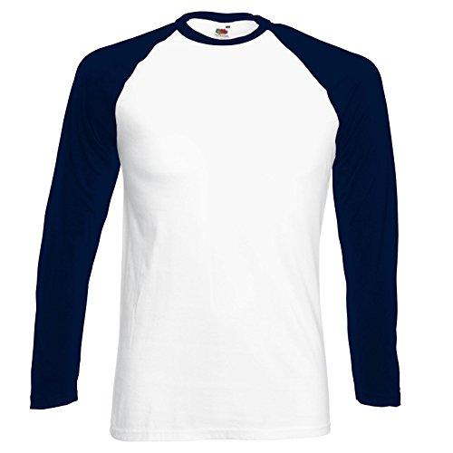 Fruit of the Loom Herren, Regular Fit, T-Shirt, Baseball M,Weiß / Tief Marineblau