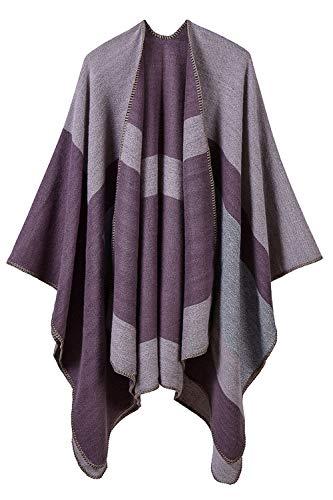 (YACUN Damen Ist Winter Schal Schal Überdimensionalen Decke Poncho Cape Open Strickjacken lila F)