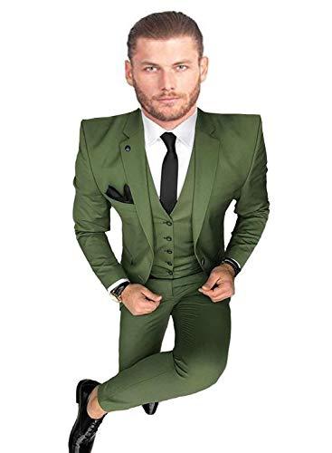 YSMO Herren Solide 3-teilig Anzug Slim Smoking Blazer Jacke Hosen Weste Set -