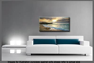 Large Pebble Sunset Beach Box Canvas 113cm x 52cm ready to hang produced by CANVAS INTERIORS - quick delivery from UK.