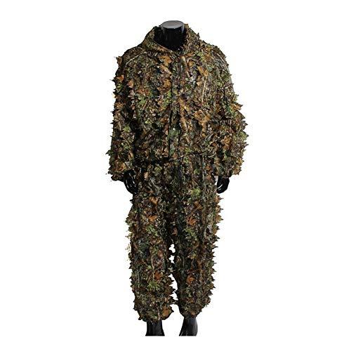 Qnlly Camo Anzüge Ghillie Anzüge 3D Blätter Woodland Camouflage Kleidung Army Sniper Military Kleidung und Hosen für die Dschungeljagd, Schießen, Airsoft, Wildlife Photography