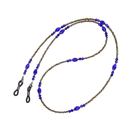 Brillenkette Böhme Künstliche Kristallkorn Monokel Sonnenbrille Kabel verstellbare Halter Leine 27 Zoll Blau