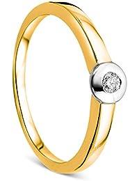 Orovi Damen Verlobungsring Gold Solitärring Diamantring 9 Karat (375) Brillianten 0.05crt Zweifarb/Weißgold und Gelbgold Ring mit Diamanten