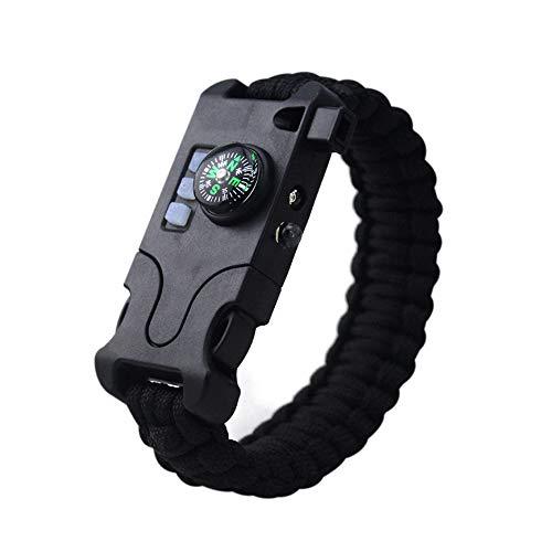 Survival Paracord Bracelet,Outdoor Survival Kit Parachute Cord Kit de matériel de survie multifonctionnel de bracelet Paracord avec boussole intégrée, sifflet de lampe de poche infrarouge extérieure pour la chasse en plein air, la randonnée pédestre, le camping, la pêche, le bracelet de survie rechargeable