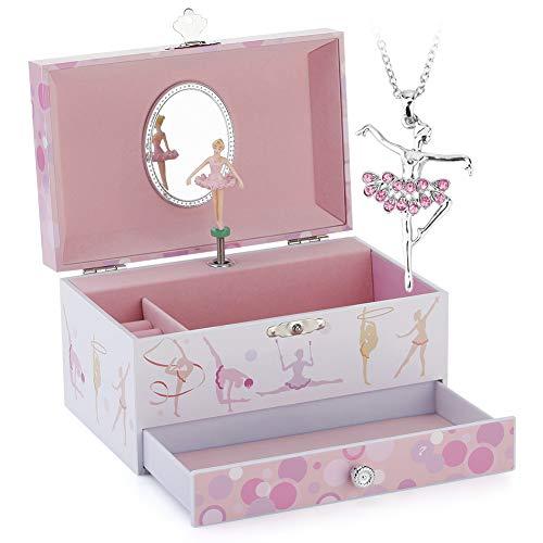 RPJC Kinder Musik - Glocke Schmuckkästchen - Box Speichern mit Schublade und Ballett Halsketten mit Mädchen Gymnastik Thema - Wunderschön Träumer Tune Pink
