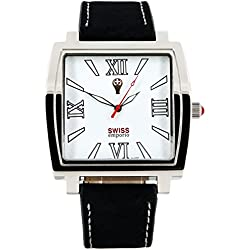 Swiss Emporio Men's Quartz Swiss Made Watch with White Dial Analogue Display and Black Leather Strap SE04WHSL10