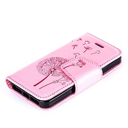 JAWSEU Glitzer Leder Schutzhülle für iPhone SE/5S/5,Retro Elegante Pu Leder Rose Blumen Schmetterling Muster Anti-Kratz Strap/Lanyard Bling/Glänzend/Strass Wallet Flip Tasche Hüllen Magnetverschluss S Pusteblume,Pink