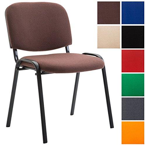 CLP Stapel-Stuhl KEN Stoff Bezug, Besucher-Stuhl stapelbar, gepolstert - preiswert, robust, einfach bequem braun