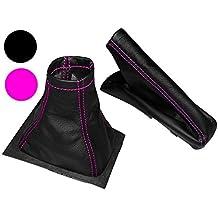 Aerzetix - Set di cuffia leva di cambio e freno a mano 100% vera pelle nera con cuciture rosa