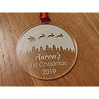 Personalised name 1st Christmas. Baby, new born santa sleigh acrylic bauble