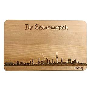 Brotzeitbrett Hamburg Skyline | Frühstücksbrettchen aus Buche | Holz Schneidbrett | Geschenk mit Gravur | Frühstücksbrett (Standard (22x14x1cm), mit persönlicher Gravur)