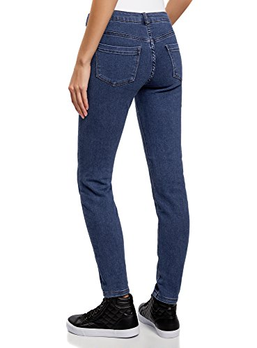 oodji Ultra Damen Jeans Slim Fit Basic Blau (7500W)