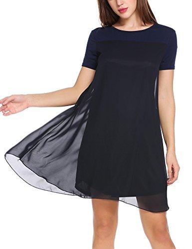 Zeagoo Damen Chiffon Kleid Strandkleid Sommerkleider Mini Partykleid A-Linie Kurz Marineblau L -ausschnitt A-linie Kurz
