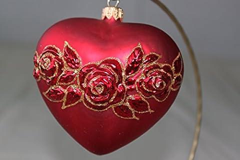 Rose rouge décoration de sapin de Noël Soufflé à la main et peint à la main New cadeau fabriqué en Pologne
