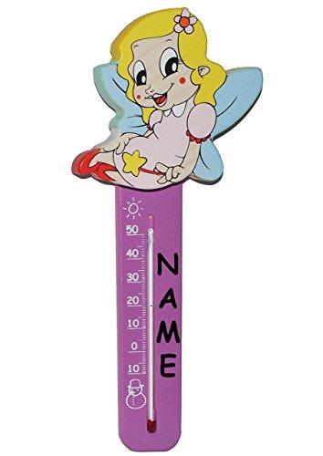 Zimmerthermometer / Innen & Außen - Hängethermometer - Fee / Elfe / Prinzessin mit Stern - incl. Name - aus Holz - Kinderthermometer für Kinder - Wandthermometer / Kinderzimmer - Wärme Kälte - Temperaturmessgerät - Holzthermometer - Analog Baby & Kind - Babys / Raumthermometer - Prinzessinnen - Thermometer