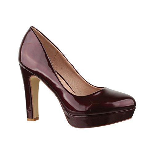 Elara Plateau Pumps | Bequeme Damen High Heels | Abend Schuhe Lackoptik | Chunkyrayan | E22322 Wine-38