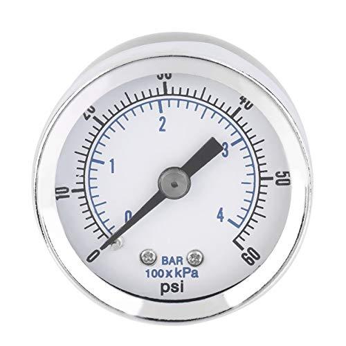 Hochwertiges 1/8 '' NPT-Luftkompressor-Hydraulik-Manometer 0-60 PSI, hinten montiert, Worldwide Store - Silber -