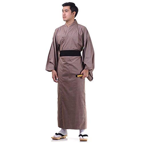 Japanischer Herren Yukata Kimono Baumwolle One Size M L XL Braun - 2