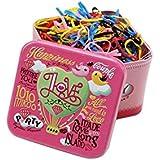 Una caja/700pcs desechables Multi Candy Color TPU pelo Ponytail Holder para el pelo elástica bandas de goma con diseño de caja de lata para bebé niña de niños