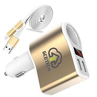 GCBTECH Quick Charge KFZ Ladegerät Zigarettenanzünder 12V/24V Auto Verteiler 3.1A Dual Port USB mit Digitalanzeige für iPhone, Android Handy, Tablet und GPS Navigationsgerät (mit 2-in-1 Ladekabel)