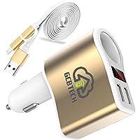 GCBTECH Quick Charge 3.0 coche cargador encendedor de cigarrillos 12 V/24V 15 W 3.1A Dual Port USB adaptador con el voltímetro LED de Exhibición digital para iPhone, Android teléfono móvil, tablet y GPS