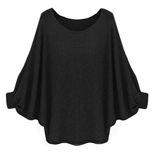 ZARU ♥Mujeres Oversized Knitted Batwing suéter suelto suéter♥ (Negro)
