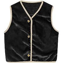 Proumy - Chaleco de forro polar unisex sin mangas para niña y niña, con chaqueta de algodón cálido y chaleco de algodón