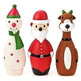 Chiwava - Confezione da 3 Giocattoli Natalizi per Cani interattivi, in Lattice, a Forma di Babbo Natale