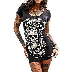 Zonsaoja Camiseta De Mujer Calavera Floral Tank Tops Casual Blusas Cuello Redondo Negro S