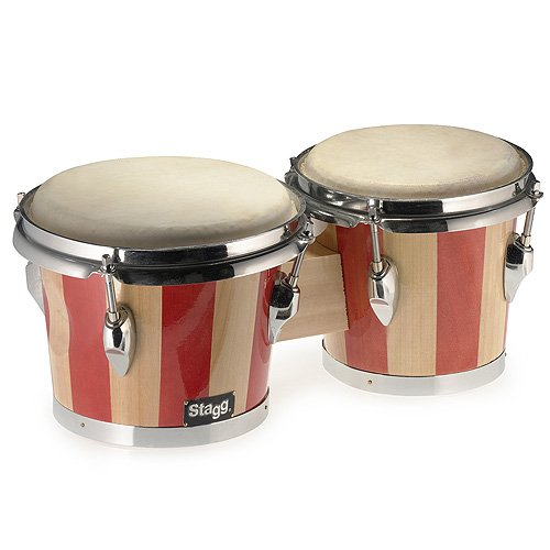 Stagg 25011834 BW-100-DT Two Tone Wood Bongo,19,05 cm (7,5 Zoll)/16,51 cm (6,5 Zoll)