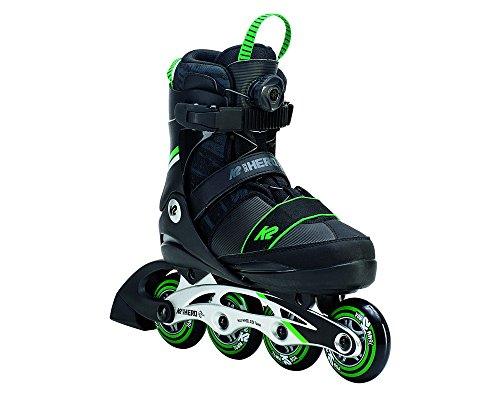 K2 Skate Sk8Hero Boa Alu–Patines en línea, color negro, verde, tamaño 1–5