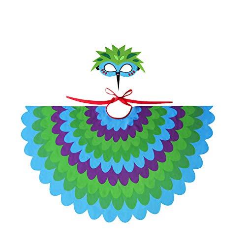 TrifyCore Fee Vogel Kostüm Peacock Flügel Gefiederte mit Maske Halloween für Kinder Cosplay Partei-Spiele Green 1 Set