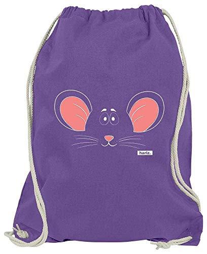 Lila Kostüm Maus - HARIZ Turnbeutel Maus Gesicht Tiere Kindergarten Plus Geschenkkarte Lila One Size